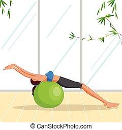 Hermosa mujer haciendo ejercicio de pilates