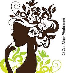 Hermosa mujer silueta con flores y pájaros