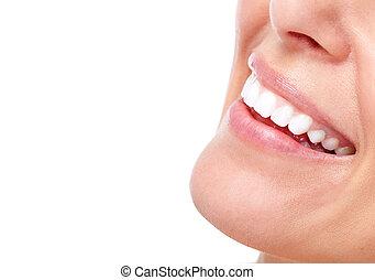 Hermosa mujer sonrisa y dientes.