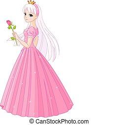 Hermosa princesa con rosa