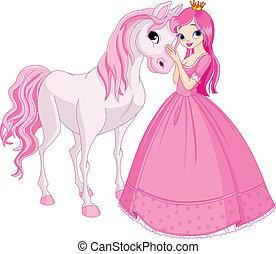 Hermosa princesa y caballo