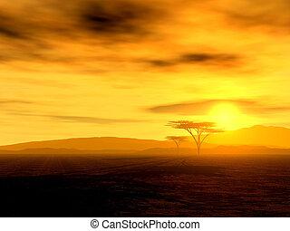 Hermosa puesta de sol africana