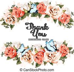 Hermosa tarjeta de agradecimiento con rosas y mariposas. Vector.