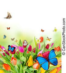 Hermosas flores de primavera con mariposas