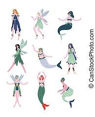 Hermosas hadas del bosque, ninfas, sirenas, ilustraciones vectoriales