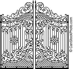 Hermosas puertas de adorno de hierro. Negro sobre blanco