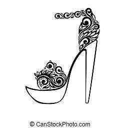 Hermosas sandalias, adornadas con adornos florales blancos y negros