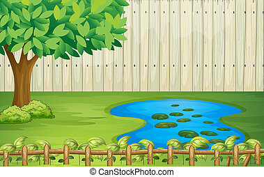 hermoso, árbol, paisaje, charca