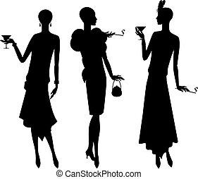 hermoso, 1920s, siluetas, niña, style.