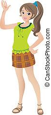 hermoso, adolescente, ilustración, ondulación, sonreír., niña, caricatura, ponytail