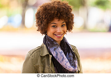 hermoso, al aire libre, gente, -, joven, otoño, mujer americana, negro, africano, retrato