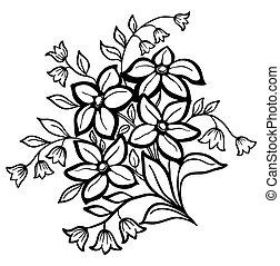 Hermoso arreglo floral, un perfil negro en un fondo blanco