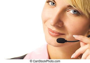 hermoso, auriculares, aislado, hotline, plano de fondo, operador, blanco