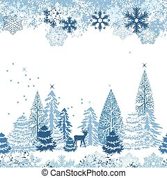 hermoso, azul, invierno, patrón, seamless, bosque