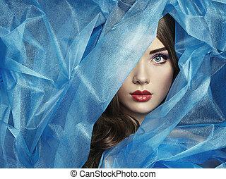 hermoso, azul, moda, foto, debajo, velo, mujeres