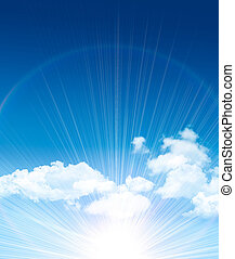 hermoso, azul, nubes, cielo