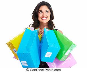 hermoso, bag., compras de mujer