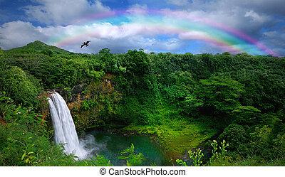 hermoso, cima, cascada, hawai, vista