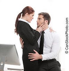hermoso, colega, el suyo, trabajo, joven, conmovedor, compañeros de trabajo, guapo, affair., teniendo, hombre