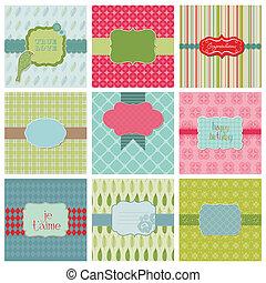 hermoso, conjunto, -, invitación, vector, cumpleaños, tarjetas saludos, boda, felicitación