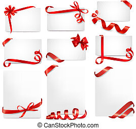 hermoso, conjunto, regalo, arcos, vector, tarjetas, cintas, rojo