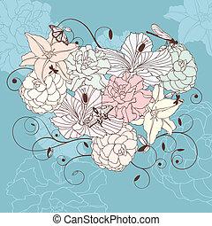 Hermoso corazón floral