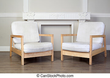 hermoso, decorativo, sillas, yeso, dos, pared, florido, blanco, moldings
