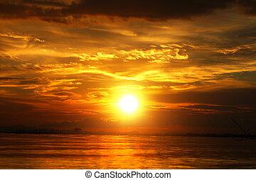 hermoso, dorado, nubes, sky., ocaso, twilight.