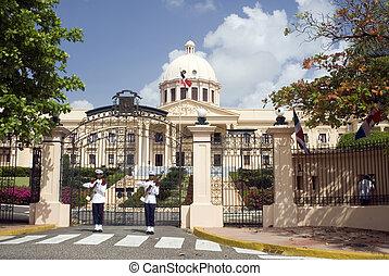 hermoso, edificio, uniformes, domingo, dominicano, palacio, gobierno, nacional, palacio nacional, guardias, república, armas de fuego, santo, armas de fuego