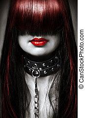 hermoso, encanto, moda, hairstyle., cadena, cuero, sementales, metal, joven, pelo largo, mujer, negro, model., hembra, sexy, retrato, blanco, dama, cuello, rojo