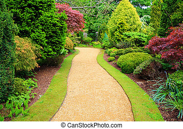 hermoso, escocia, jardín, primavera