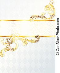 Hermoso estandarte vertical de boda rocococo