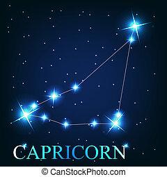 hermoso, estrellas, capricornio, cielo, cósmico, señal, brillante, vector, plano de fondo, zodíaco