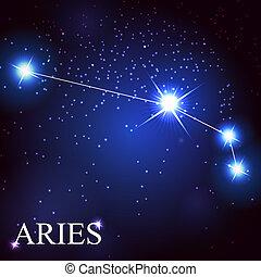 hermoso, estrellas, cielo, cósmico, señal, brillante, vector, plano de fondo, aries, zodíaco