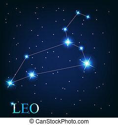hermoso, estrellas, cielo, cósmico, señal, brillante, vector, plano de fondo, zodíaco, leo