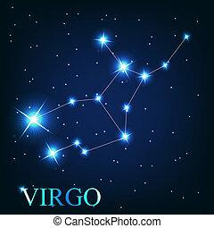 hermoso, estrellas, cielo, cósmico, señal, virgo, brillante, vector, plano de fondo, zodíaco