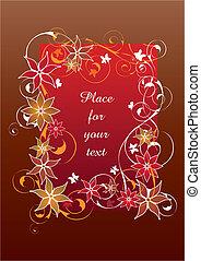 hermoso, floral, marco, rojo