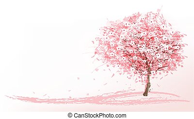 Hermoso fondo con un árbol de sakura rosa. Vector.