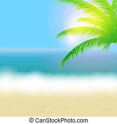 Hermoso fondo de verano con playa, mar, sol y palmera ilustración Vector