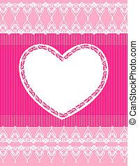 Hermoso fondo rosado con encaje y corazón