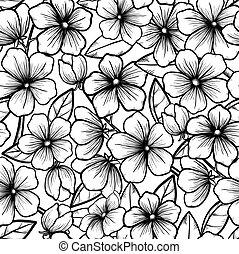 Hermoso fondo sin costuras en estilo blanco y negro. Flores florecientes de árboles. Un contorno de flores. El símbolo de la primavera.