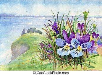 Hermoso iris prado en acuarela