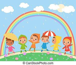 hermoso, lluvioso, niños, día, caminata