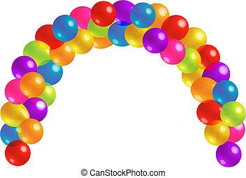 hermoso, lotes, globo, arco, transparencia