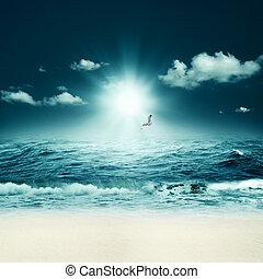 Hermoso mar. Abstrae los antecedentes marinos para tu diseño