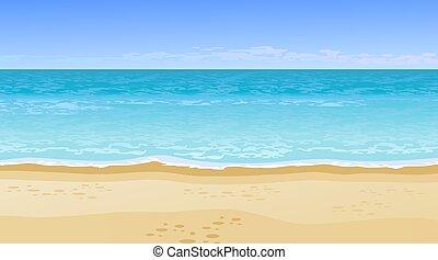 hermoso, mar, realista, vista
