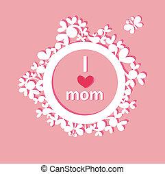 Hermoso marco de papel con saludos para mamá