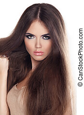 hermoso, marrón, mujer, largo, moda, posar, hair., retrato, primer plano, modelo, studio.