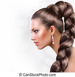 hermoso, marrón, mujer, sano, pelo largo, hair., retrato