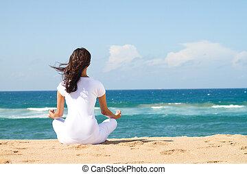 hermoso, meditación, mujer, joven